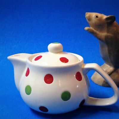 Whimsical Little Ironstone Teapot - 1 Cup - Retro-Style Red & Green Polka Dots