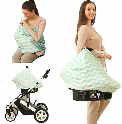 Nursing Cover Infinity Scarf Car Seat Cover/Canopy MINT/WHITE - NEW - UK STOCK!