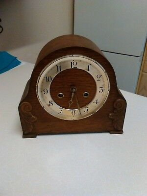 1930's Oak Cased Mantle Clock with 'Foreign' Movement - Spares or Repair (1255)
