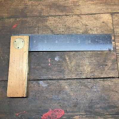 "7-1/2"" Wood And Brass Square - Old  vintage tool #559"
