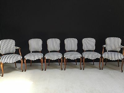 6 Beautiful Antique Louis Xvi Chairs Pro Upholstered & French Polished.