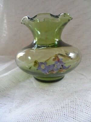 Vintage/ Antique Green Glass Vase with Hand Painted Flowers