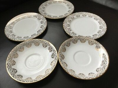 Royal Vale Gilded 3x Side Plates And 2 X Saucers