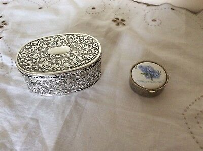 Silver Trinket Box & 'forget Me Not' Pill Box
