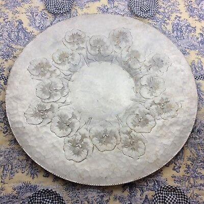 """Large Vintage PANSY Aluminum Tray 17.5"""" Continental Round Hammered Pansies Plate"""