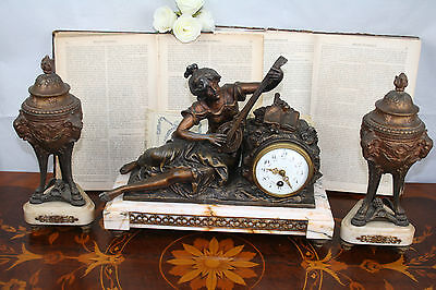 French Antique Marble & bronze spelter Clock set garniture Mantel 19th c