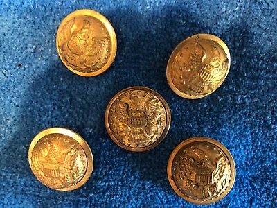 Lot of 5 Civil War Buttons Union Federal staff officer military uniform eagle