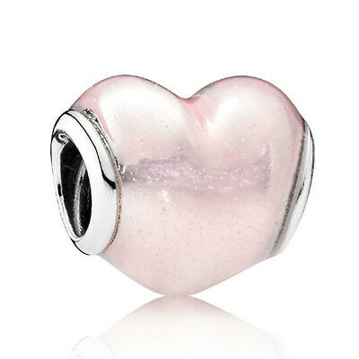 b2abfb06c NEW!! AUTHENTIC PANDORA Glittering Heart Charm, Soft Pink Enamel - 9146
