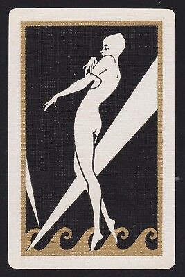1 Single VINTAGE Swap/Playing Card DECO LADY WHITE GOLD WAVES