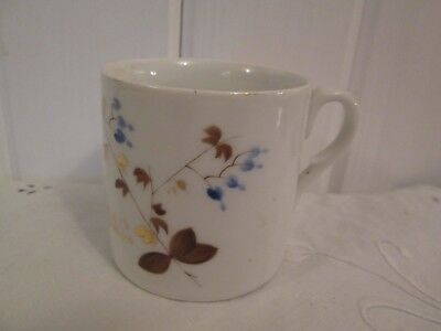 Antique Porcelain Gift Mug Cup Hand Painted Think of Me Victorian Flowers Blue