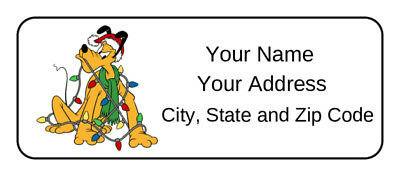 30 Personalized Pluto Christmas Address Labels,disney,name tags,stickers,favors