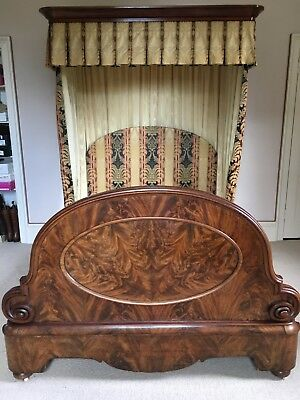 Half Tester Bed - Reproduction, solid walnut, small king sized.