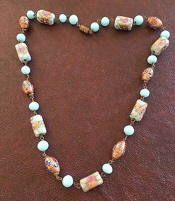 Vintage Italian Blue Copper Mix Oval Rectangle Wedding Cake Link Bead Necklace