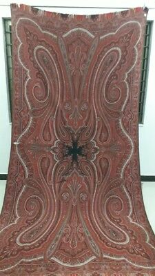 """Antique French Paisley Kashmir Design Shawl Woolen size 130""""By63"""""""
