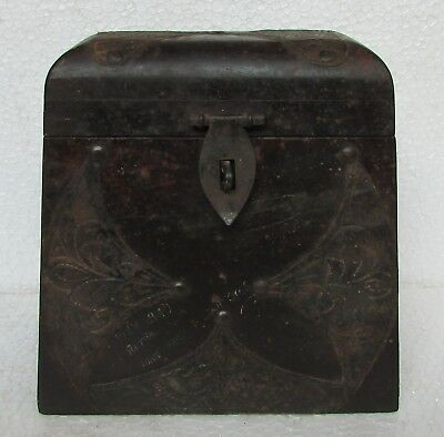 Old Collectible Handcrafted Iron Fitted Unique shape Wooden Box