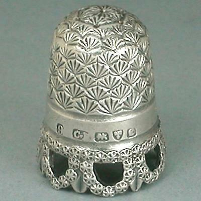 Rare Antique English Sterling Silver Thimble  by Charles Horner * 1904 Hallmarks