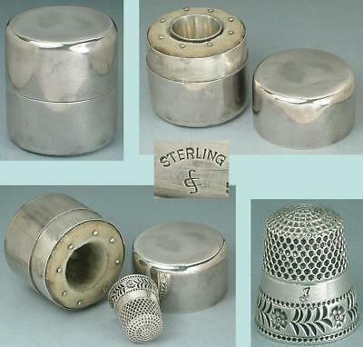 Antique Sterling Silver Thimble Case & Pincushion by S. Cottle Co. * Circa 1890s