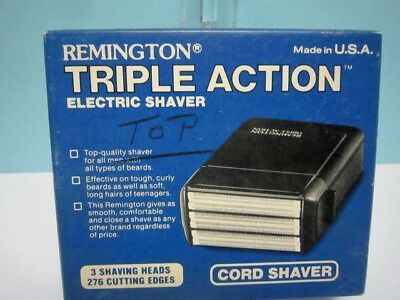 Vintage Remington Tripple Action Electric Cord Shaver Razor In Factory Case.