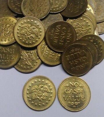 Lot of 40 Brass Tokens Arcade/Pachismo/Game/Slot Size .984 Eagle No Cash Value