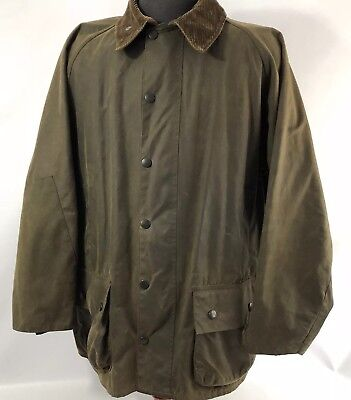 Vintage Barbour Moorland Waxed Cotton Jacket Corduroy Collar GUC Mens Size 48