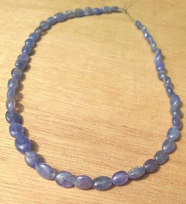 """Genuine Blue Tanzanite Smooth Oval Beads, 5mm to 8mm Long, Strand Approx 12"""""""