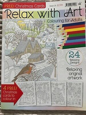relax with art colouring book christmas edition