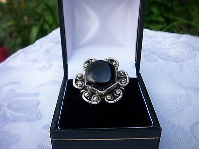 Vintage Large Silver Flower Ring Set With Black Onyx Very Good Used Condition