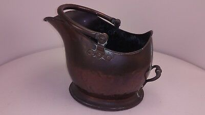 Large Antique Solid Heavy Copper Coal Scuttle Bucket FREE UK P&P