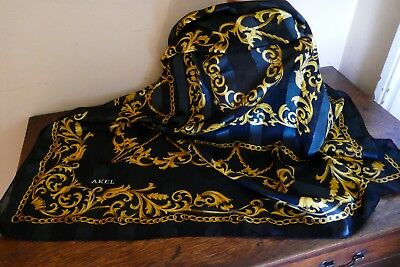 Very Large Square Vintage Black and Gold Rocco Design Scarf, by AKEL