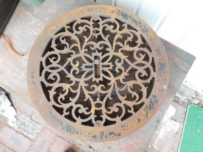 Vintage Ornate Round Floor Grate With Louvers