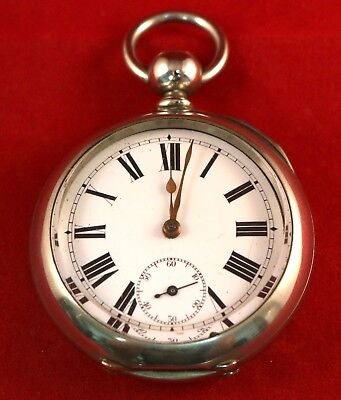 Large Chunky Antique Chrome Pocket Watch Very Heavy Tactile Key Wound Watch 1900