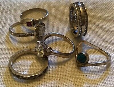 Six Sterling Silver Vintage Rings