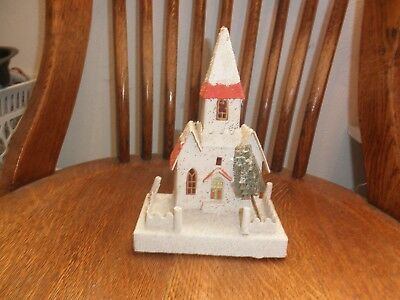 Vintage Christmas Glittered Paper Church, Made In Japan