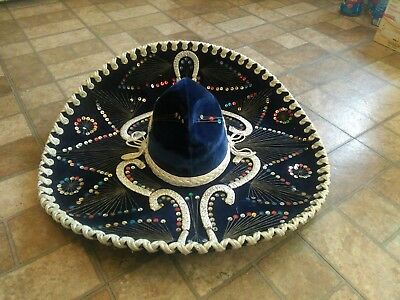 """Large Mexican Blue with Color Seqins  """"Linan"""" SOMBRERO 23"""" diameter Adult Size"""