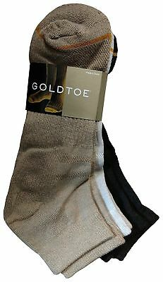 New Mens Gold Toe 3 Pair Value Pack High Performance Ankle Socks 3 Asstd Colors