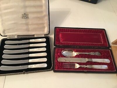 Superb Antique Set of Mother of Pearl Cutlery 2 sets