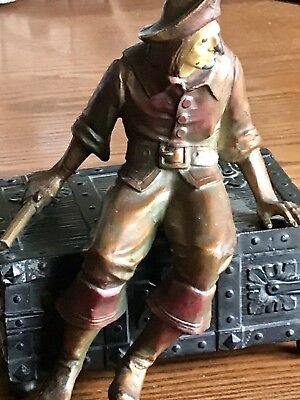 Antique JB Hirsch French Bronze Spelter Pirate on Treasure Chest music box