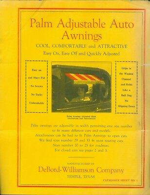 1927 Brochure Palm Adjustable Auto Awnings For Car Windows