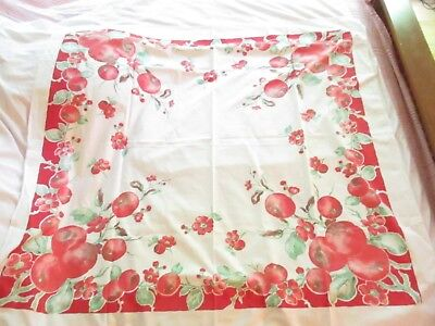 """Vintage 48"""" x 48"""" Red Apples Tablecloth"""