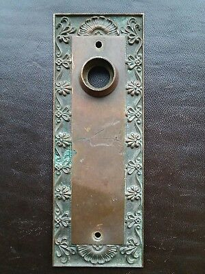 Antique Victorian Eastlake Door Knob Back Plate Brass Bronze Rare Cast Solid