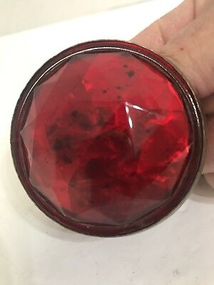 """Antique """"Persons-Majestic Mfg"""" 2-1/4"""" Red Glass"""" Bicycle Or Motorcycle Reflector"""