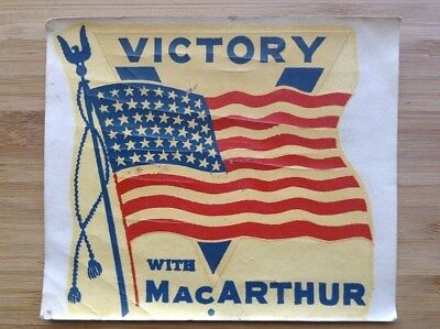 General Douglas MacARTHUR-Victory With MacARTHUR Decal-WW2 Patriotic Homefront