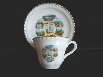 1950's Vintage Tea Cup & Saucer Yellowstone Nat'l .80 cents Wyoming USA Souvenir