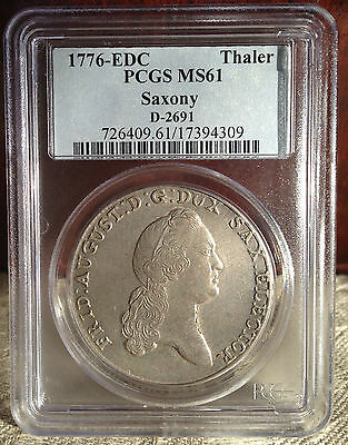 1776 Colonial Times SAXONY in Mint State PCGS. MS - 61  Silver Thaler