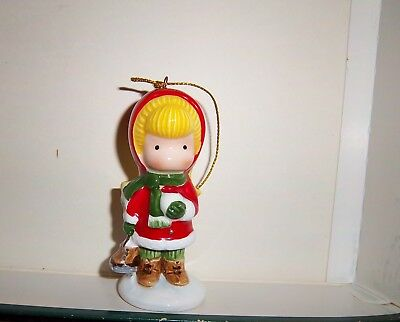 1982 Joan Walsh Anglund Christmas Ornament Figurine Girl with Ice Skates