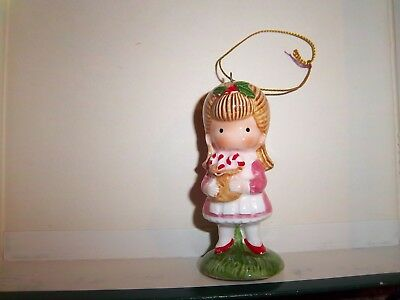 1982 Joan Walsh Anglund Christmas Ornament Figurine Girl with Candy Canes