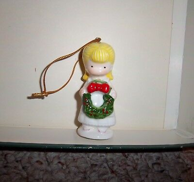 1981 Joan Walsh Anglund Christmas Ornament Figurine Girl with Christmas Wreath
