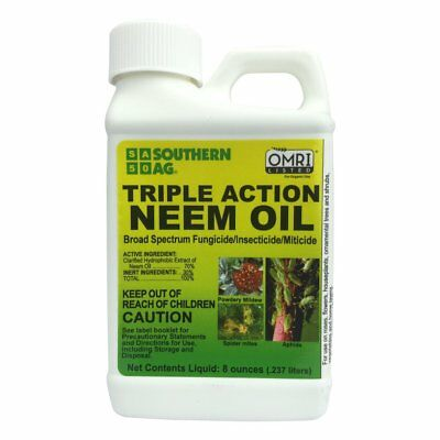 Triple Action Neem Oil Insecticide Fungicide Miticide 8 oz Veggie Garden Herb +