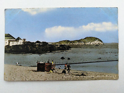 SANDS AND CRAIGLEITH, NORTH BERWICK Old Coloured Photo Postcard