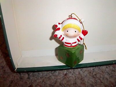 1982 Joan Walsh Anglund Christmas Ornament Figurine Boy in Gift Box